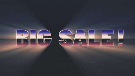 rolety : shiny retro 80s style lazer big sale text fly in and out on stars animation background -new unique vintage beautiful dynamic joyful colorful video footage Wideo