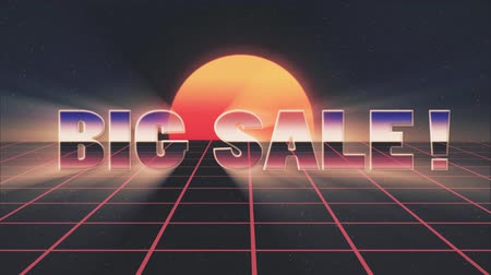 rolety : shiny retro 80s style lazer big sale text fly in and out on grid sun stars animation background -new unique vintage beautiful dynamic joyful colorful video footage Wideo