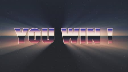 rolety : shiny retro 80s style lazer you win text fly in and out on stars animation background -new unique vintage beautiful dynamic joyful colorful video footage
