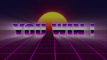 rolety : shiny retro 80s style lazer you win text fly in and out on grid sun stars old tv screen animation background -new unique vintage beautiful dynamic joyful colorful video footage