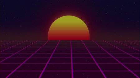 rolety : retro 80s style grid sun stars old tv screen animation background -new unique vintage beautiful dynamic joyful colorful video footage