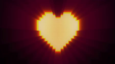 ikony : shiny pixel heart beat on digital old tv screen seamless loop glitch interference animation new dynamic holiday retro joyful colorful vintage video footage