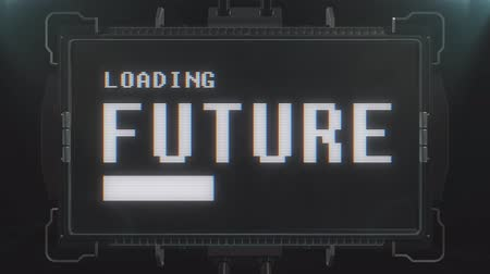 valóság : retro videogame loading future text on futuristic tv glitch interference screen animation seamless loop ... New quality universal vintage techno motion dynamic background colorful joyful cool video Stock mozgókép