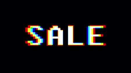 metka : colorful pixel Sale text jumping seamless loop animation - new quality retro vintage motion joyful addvertisement commercial video footage Wideo