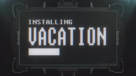 valóság : retro videogame vacation text on futuristic tv glitch interference screen animation seamless loop ... New quality universal vintage techno motion dynamic background colorful joyful video