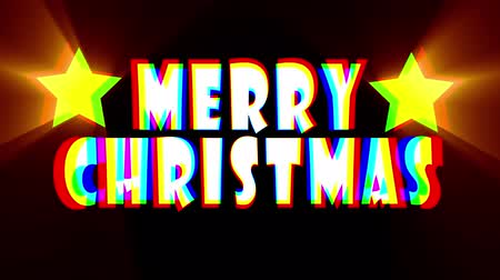 karikatura : colorful merry christmas text jumping stars animation background with snowfall - new quality retro vintage motion joyful holiday video footage