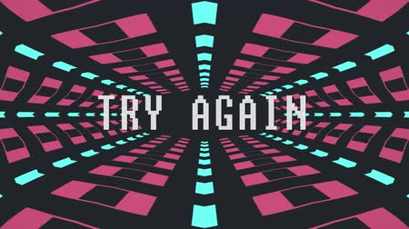 prędkość : retro game style infinite tunnel flight seamless loop animation with try again blinking text - new quality 4k vintage colorful joyful video footage Wideo