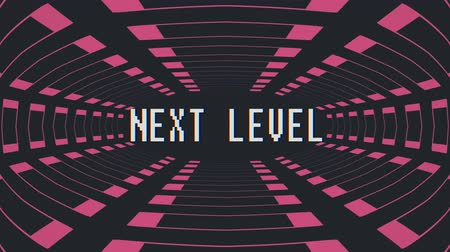 kmenový : retro game style infinite tunnel flight seamless loop animation with next level blinking text - new quality 4k vintage colorful joyful video footage