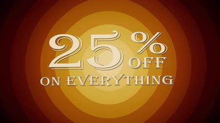 erkeklere özel : 25 percent off discount text jumping seamless loop animation - new quality retro vintage motion joyful addvertisement commercial video footage Stok Video