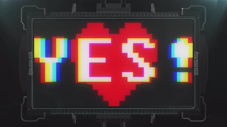 heart failure : retro videogame YES word text heart beat on futuristic tv glitch interference screen animation seamless loop ... New quality universal vintage techno motion dynamic background colorful joyful video