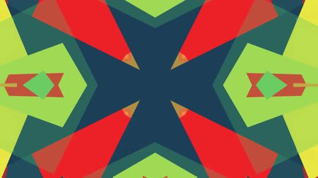 row : ornamental geometric kaleidoscope ethnic tribal pattern animation - New quality retro vintage holiday native shape colorful universal motion dynamic animated joyful music video footage Stock Footage