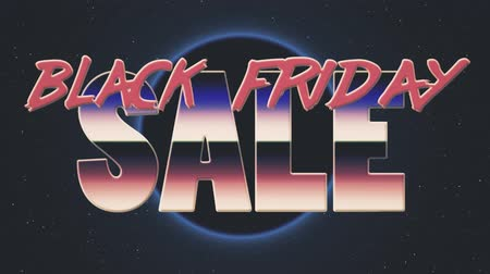 рекламный : shiny retro 80s style lazer black friday sale text fly in and out on sun hole stars animation background -new unique vintage beautiful dynamic joyful colorful video footage