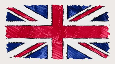 kriko : stop motion of marker drawn British flag cartoon animation - new quality national patriotic colorful symbol video footage