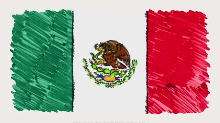 mapa : stop motion of marker drawn Mexico flag cartoon animation - new quality national patriotic colorful symbol video footage