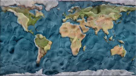 mapa : clay planet earth map background seamless endless loop animation - new quality unique handmade cartoon dynamic joyful video footage Wideo