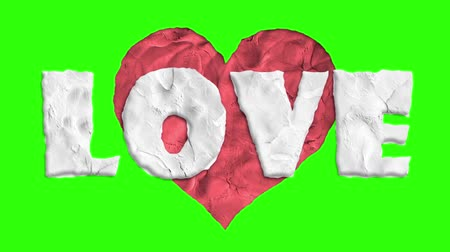 trail marker : stop motion clay made heart shape love word cartoon animation seamless loop chroma key green screen background ... New quality universal grunge vintage motion dynamic animated colorful joyful video