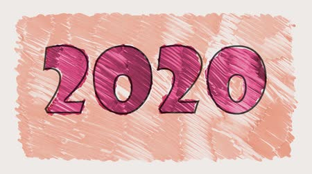 papeles : stop motion marker 2020 texto animación seamless loop background - nueva calidad retro vintage movimiento alegre vacaciones de invierno video footage Archivo de Video