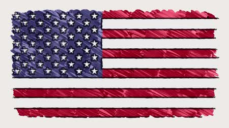 bandeira americana : stop motion of marker drawn USA flag cartoon animation - new quality national patriotic colorful symbol video footage