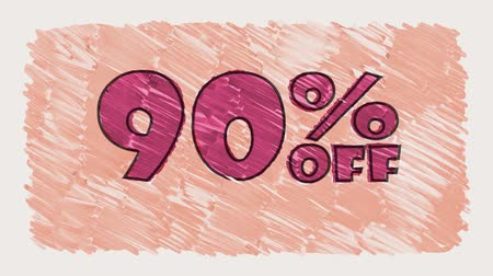 erkeklere özel : 90 percent off discount marker on blackboard text cartoon drawn seamless loop animation - new quality retro vintage motion joyful addvertisement commercial video footage