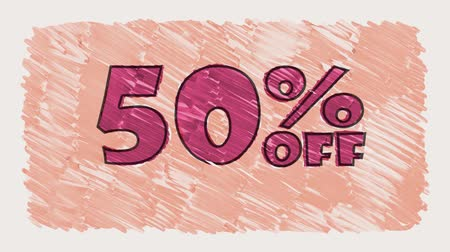 metka : 50 percent off discount marker on blackboard text cartoon drawn seamless loop animation - new quality retro vintage motion joyful addvertisement commercial video footage