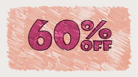 metka : 60 percent off discount marker on blackboard text cartoon drawn seamless loop animation - new quality retro vintage motion joyful addvertisement commercial video footage Wideo