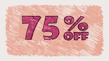 erkeklere özel : 75 percent off discount marker on blackboard text cartoon drawn seamless loop animation - new quality retro vintage motion joyful addvertisement commercial video footage Stok Video