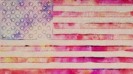 karikatura : stop motion of watercolor drawn USA flag cartoon animation seamless loop - new quality national patriotic colorful symbol video footage