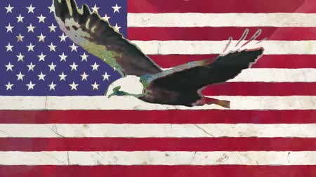 vlastenectví : stop motion of drawn grunge USA flag with bald eagle fly cartoon animation seamless loop - new quality national patriotic colorful symbol video footage