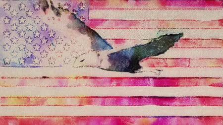 июль : stop motion of drawn watercolor grunge USA flag with bald eagle fly cartoon animation seamless loop - new quality national patriotic colorful symbol video footage