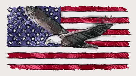 szkic : stop motion of marker drawn USA flag with bald eagle fly cartoon animation seamless loop - new quality national patriotic colorful symbol video footage