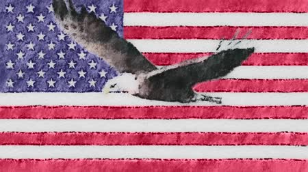 vlastenectví : stop motion of drawn pastel USA flag with bald eagle fly cartoon animation seamless loop - new quality national patriotic colorful symbol video footage