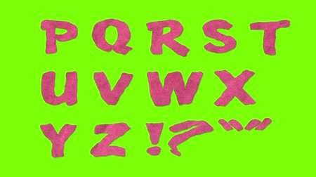 szkic : animated paper cutout font isolated on chroma key green screen background animation all letters, punctuation, and numbers - new quality dynamic cartoon joyful colorfool footage Wideo