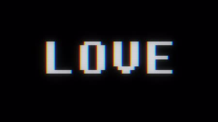 капелька : retro digital font love word text on old tv lcd glitch interference screen animation seamless loop .. New quality universal vintage motion dynamic animated background colorful joyful video footage Стоковые видеозаписи