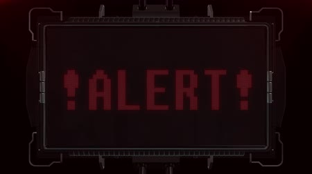 valóság : flashing red alert warning word text on futuristic digital black lcd screen seamless loop animation - new quality techology colorful joyful vintage dynamic motion video footage