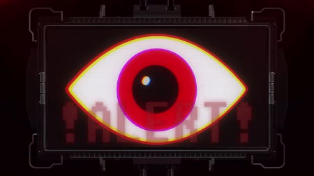 кодирование : jumpy RGB red eye symbol and alert warning on futuristic screen display background animation seamless loop ... New quality universal close up vintage dynamic animated colorful joyful cool video