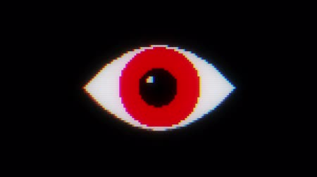 eye : red pixel eye symbol on glitch lcd led screen display background animation seamless loop ... New quality universal close up vintage dynamic animated colorful joyful cool video footage