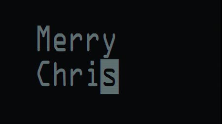 pozdrav : hand typing merry christmas words writing on white old led lcd tube computer display screen close up pixel animation - new quality retro vintage futuristic wording typography video footage loop