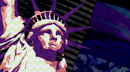 karikatura : Statue of Liberty hand made pop art stop motion cartoon seamless loop animation background - new quality national pride colorful joyful video footage Dostupné videozáznamy