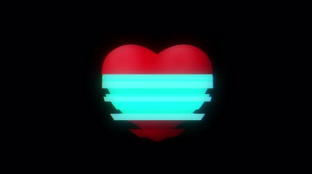 смещение : heart vertical glitch interference on digital old red led lcd computer tv screen animation seamless loop - new dynamic holiday retro joyful colorful vintage video footage