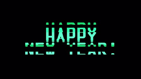 pozdrav : happy new year words glitch interference noise effect close up seamless loop animation background - new quality retro vintage modern futuristic wording typography video footage Dostupné videozáznamy