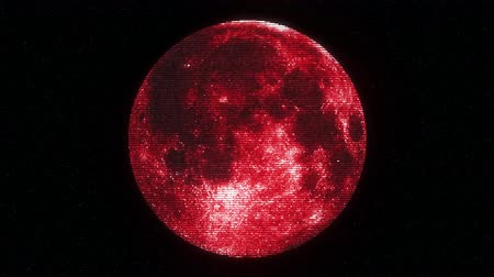 rachaduras : full moon on jumpy red glitch old lcd led tv computer screen display seamless loop animation black stars background - new quality natural colorful joyful video footage