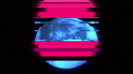 смещение : full moon on jumpy red glitch old lcd led tv computer screen display seamless loop animation black stars background - new quality natural colorful joyful video footage