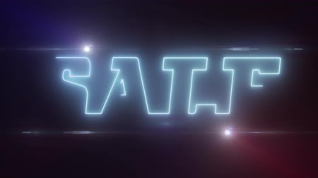 metka : blue lazer neon SALE text with shiny light optical flares animation on black background - new quality retro vintage disco dance motion joyful addvertisement commercial video footage loop design