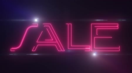 metka : red lazer neon SALE text with shiny light optical flares animation on black background - new quality retro vintage disco dance motion joyful addvertisement commercial video footage loop design Wideo