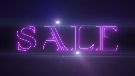 értékesítés : pink lazer neon SALE text with shiny light optical flares animation on black background - new quality retro vintage disco dance motion joyful addvertisement commercial video footage loop design Stock mozgókép