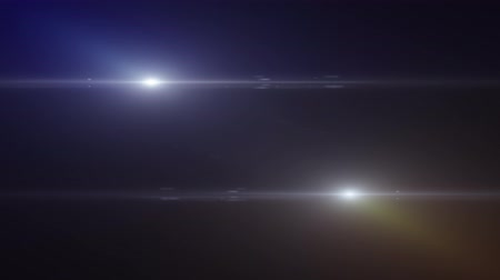 objektiv : two horizontal moving blue white lights optical lens flares shiny animation art background animation - new quality natural lighting lamp rays shiny effect dynamic colorful holiday bright video footage
