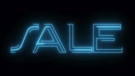 metka : blue laser neon SALE text with shiny light optical flares animation on black background - new quality retro vintage disco dance motion joyful advertisement commercial video footage loop design
