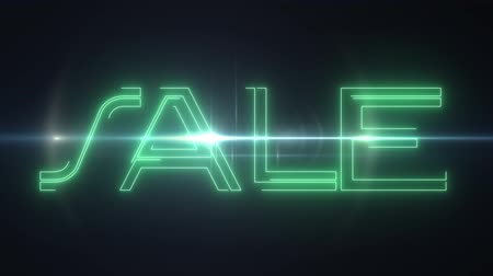 szlogen : green laser neon SALE text with shiny light optical flares animation on black background - new quality retro vintage disco dance motion joyful advertisement commercial video footage loop design
