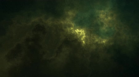 prędkość : Fly in star space beautiful yellow moving misty nebula animation background - new natural cosmos dynamic video footage