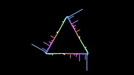 equalizador : rainbow Colored triangle audio waves animation - New universal motion dynamic animated background colorful joyful dance music video footage Vídeos